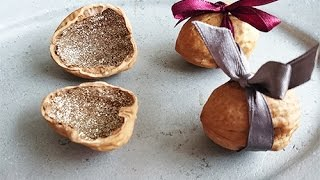 Gift Wrapping: Glitter Walnuts!