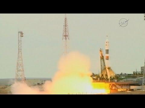partio la soyus ms-02 con tripulacion, hacia la estacion espacial