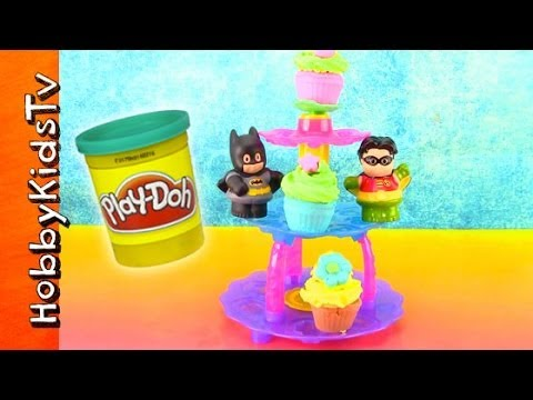 PLAY-DOH Cupcake Tower Set. Batman Eats Cake. Patrick StarPlay-Doh Plus Whipped Cream