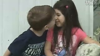 Little girl KISS little boy  ! First kiss OMG