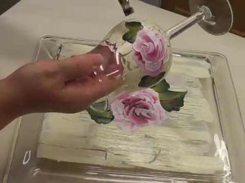 Painting A Rose On a Ivory Crackle Background on a Wine Glass