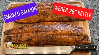 """Smoked salmon on the Weber 26"""" kettle with the Slow N Sear."""