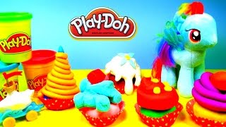 PLAY DOH SURPRISE EGGS CUPCAKES - My Little Pony Rainbow Dash Shopkins Lalaloopsy