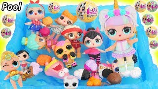 Unicorn Visit Pool with Lil Pharaoah Babe in McDonalds + Toys R Us Drive Thru LOL Surprise Boy Punk