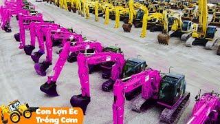 Máy Xúc Làm Việc | Con Lợn Éc - Trống Cơm | Nhạc Thiếu Nhi Remix Sôi Động