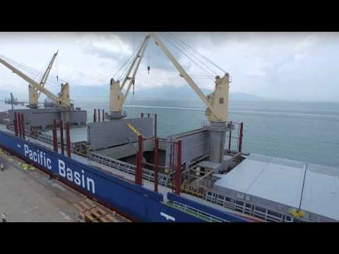 Pacific Basin ship loads steel cargo in Hong Kong