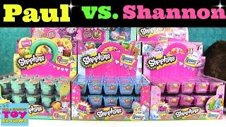 Paul vs Shannon | Shopkins Dice Game Challenge Unboxing Toy Review | PSToyReviews