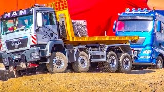 RC truck Action & Mercedes Actros STUCK & RESCUE by 2 trucks!