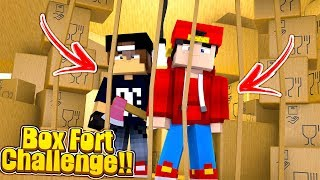 Minecraft BOX FORT CHALLENGE - 24 HOUR BOX FORT PRISON ESCAPE!!