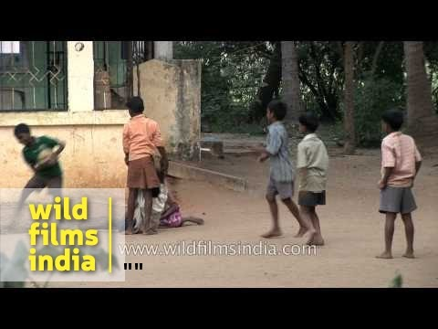 Rural village children in India plays with ball