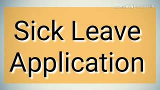 SICK LEAVE Application in English | Leave Application in English | Formal Letter writing