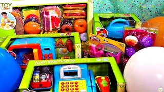 Toy Kitchen Reveal! Toy Food, Toy Microwave, Toy Mixer, Play Doh,
