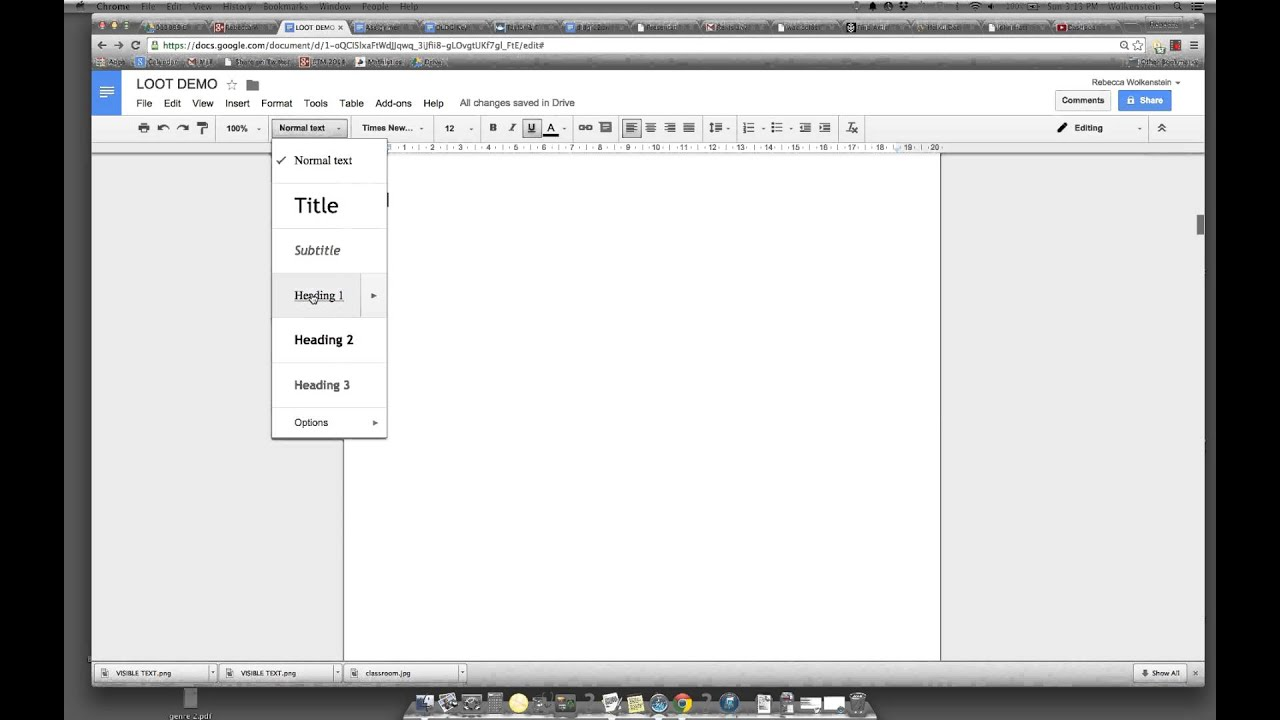 Table of contents for organising student work in google for Table of contents google docs