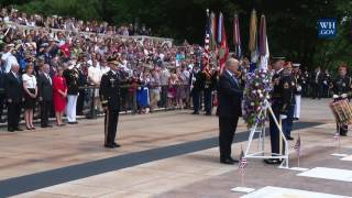 President Trump Lays a Wreath at Arlington National Cemetery for Memorial Day Ceremony