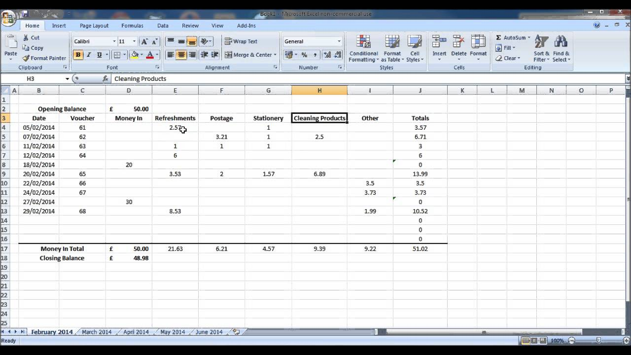 How To Create A Petty Cash Account Using Excel Part 1