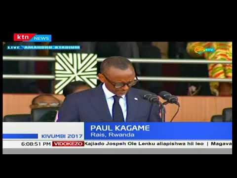Uhuru Kenyatta na mkewe Margaret walikuwa miongoni mwa waliohudhuria hafla ya kuapishwa kwa Kagame