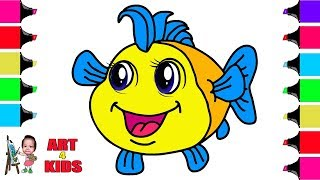 How to Draw Fish | Coloring Pages For Children | Coloring Book