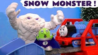 Thomas The Tank Engine and the funny Funlings meet a Snow Monster in a Superhero Rescue TT4U