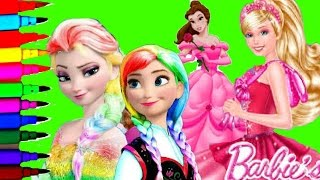 DISNEY FROZEN BARBIE PRINCESS Compilation Peppa Pig Barbie Fairytopia Coloring Pages Video For Kids