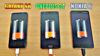 Samsung Galaxy S8 vs NOKIA 6 vs OnePlus 3T - Battery Drain Test! (4K)