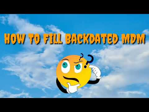 MDM Back Dated Data।fill step by step।Cluster level