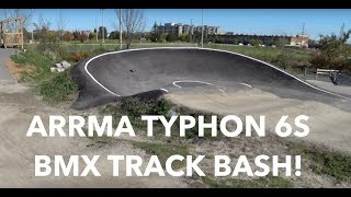 Arrma Typhon 6S v2 BMX Track Bash - 8th Scale Buggy Huge Jumps and Crashes! - Netcruzer RC