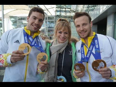 Felix Loch, Georg Hackl, Natalie Geisenberger - Heimkehr Deutsche Olympiamannschaft Gold