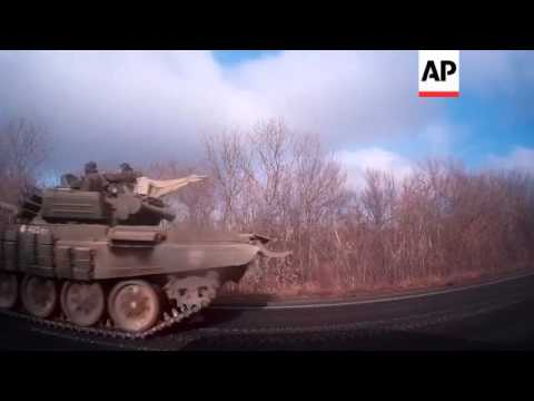 Pro-Russian tanks on the road to Donetsk