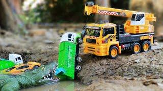Máy xúc cẩu xe tải Cứu hộ ô tô Đồ chơi cho trẻ em | Đồ chơi cá sấu cho tr�