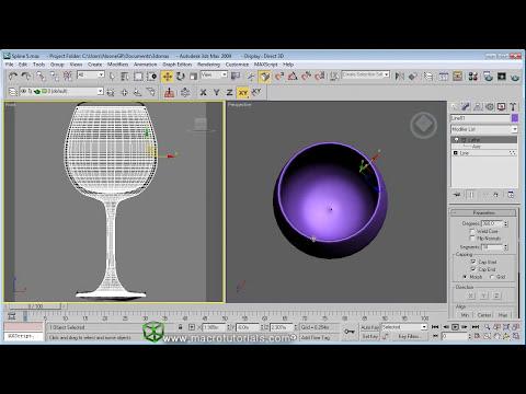 3D Studio Max - Tutorial - Modelar copa de vino usando el modificador lathe | Solidos de revolucion
