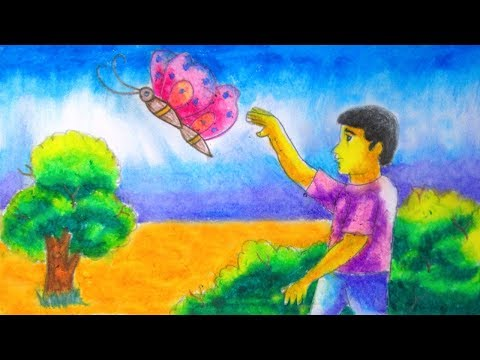How to draw  a boy catching butterflies with village scenery by Indrajit Art School