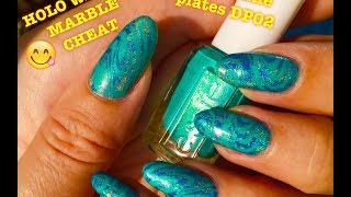 "😋Holo Water Marble ""Cheat"" - weekly manicure feat Dixie Plate DP 02😋"
