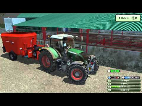 Mixing feed for the cows with Fendt 724 Farming Simulator 2013