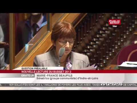 Sénat nouvelle lecture du PLF2013 - Les sénateurs FDG pour la question préalable du groupe PS