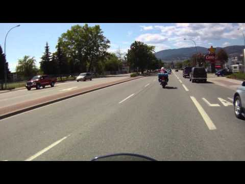 Riding through the town of Kelowna, BC