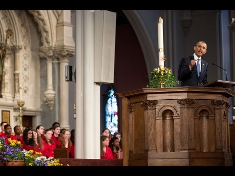 President Obama Speaks at an Interfaith Prayer Service in Boston