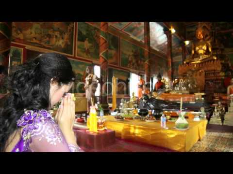 Stock Footage - Asian Girl Praying In Temple - Cambodia 7 | VideoHive