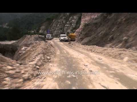 Broken roads in the worst hit Rudraprayag