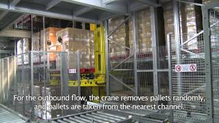 video Automated cold store warehouse system for storage of frozen french fries at Agristo BV in Tilburg in clad rack warehouse construction.
