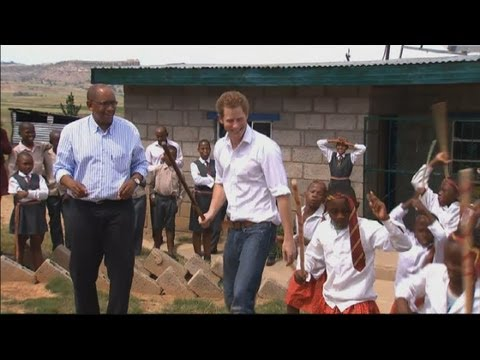Prince Harry dancing: Prince Harry takes part in traditional dance on charity trip to Africa