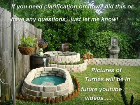 Turtle Pond - 300 Gallon Rubbermaid & Landscape Bricks - YouTube