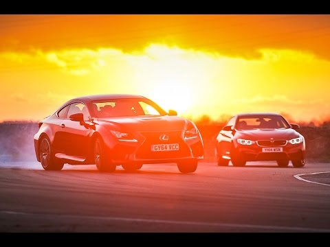 New Lexus RC F vs BMW M4 - drift and drag race head-to-head