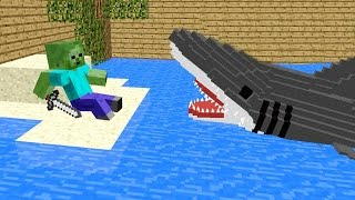 Monster School: Killing The Shark - Minecraft Animation Jaws Movie