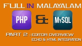 PHP FULL TUTORIAL(In MALAYALAM) : Code Editor & Echo Overview