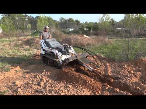 Bobcat MT-50 Mini Track Loader With Trencher Attachment (HD)