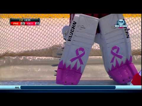 Jimmy Howard wears pink gear for Breast Cancer Awareness Night (Re Upload)