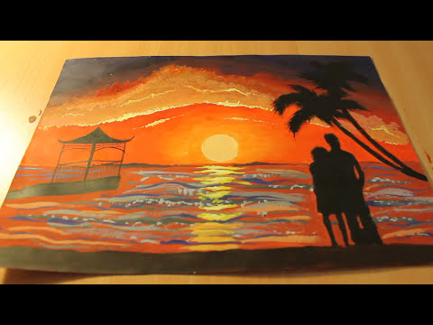 Best Sunset Drawings Sunset Drawing