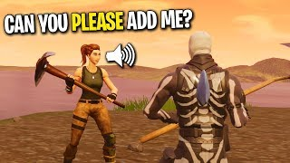 SURPRISING THE NICEST NOOB WITH A FRIEND REQUEST ON FORTNITE! (He Hasn't WON YET!)