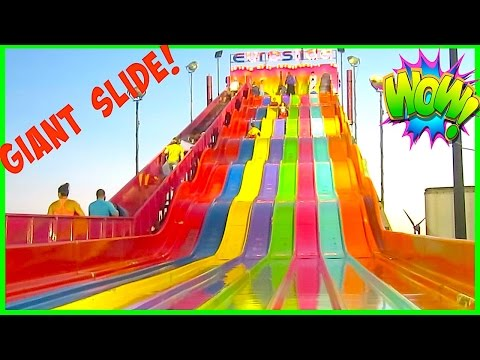 LONGEST SLIDE + Scary Fun Rides at the FAIR OUTDOOR Family Fun Amusement Park For Kids