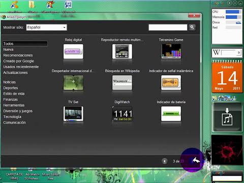Descargar google desktop y poner gadgets loquendo xp